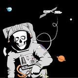 Fatal Error. In space, against the background of the Earth and Saturn Royalty Free Stock Image