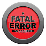 Fatal Error Dark Metal Icon. A fatal error icon  on a white background Royalty Free Stock Images