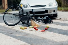 Fatal traffic accident between car and bicycle on a pedestrian c. Rossing stock photos