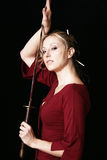 Fatale de Femme com espada do samurai Imagens de Stock Royalty Free