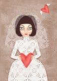 Fatale de Femme Menina no vestido de casamento com véu e coração à disposição Imagem de Stock