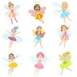 Fatati svegli nei personaggi dei cartoni animati Girly dei vestiti graziosi messi Fotografia Stock