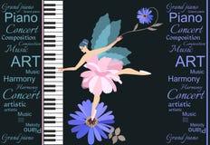 Fatato alato poco dolce - ballerina in tutu rosa che gioca su un grande pianoforte a coda di concerto Camomilla blu adorabile e t royalty illustrazione gratis