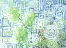 Fatato del giardino del gelso bianco che riposa nel carattere dei bambini del sole Immagini Stock Libere da Diritti