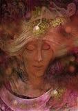 Fatato delicato di angelo con la luna ed i capelli bianchi, illustrazione Fotografia Stock Libera da Diritti