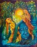 Fatato dorato e un pifferaio magico della lepre sotto un albero verde smeraldo Immagini Stock Libere da Diritti