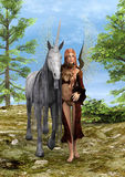 Fatato e unicorno Fotografie Stock Libere da Diritti