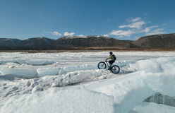 Fatbike (fat bike or fat-tire bike). Fatbike (also called fat bike or fat-tire bike) - Cycling on large wheels. Extreme girl riding a bike on snow melted ice Stock Image