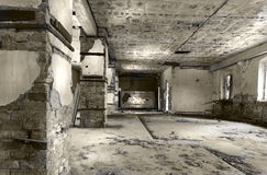 Fate. Dramatic interior of an abandoned military building Royalty Free Stock Photo