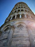 Tower of Pisa. Fate of the famous leaning tower of Pisa that in this particular view from below other to the particular effect of light entering the image Royalty Free Stock Image