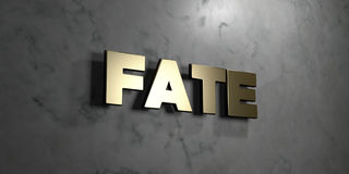 Fate - Gold sign mounted on glossy marble wall  - 3D rendered royalty free stock illustration. This image can be used for an online website banner ad or a Royalty Free Stock Photo