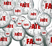 Fate Word Clocks Destiny Time Moving Forward Destined Outcome Re Royalty Free Stock Photos