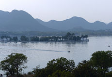 Fateh Sagar. One of the string of lakes that runs through the heart of Udaipur, Rajasthan Royalty Free Stock Photo