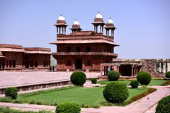 Fatehpur Sikri deserted city in India. Kitchen, stables, swimming pool, turkish pavilion and private emperor`s pavilion and imperial harem beautiful quiet quiet Stock Images