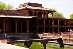 Fatehpur Sikri deserted city in India. Kitchen, stables, swimming pool, turkish pavilion and private emperor`s pavilion and imperial harem beautiful quiet quiet Stock Photos