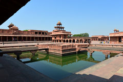 Fatehpur Sikri Fort. Panch Mahal and Ornamental Pool in the Fatehpur Sikri City, Agra , India Royalty Free Stock Photography