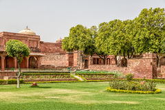 Fatehpur Sikri fort. Courtyard of a palace, Panch Mahal, Fatehpur Sikri, Agra, Uttar Pradesh, India Stock Image