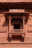Balcony in Birbal Palace at Fatehpur Sikri complex. Fatehpur Sikri, India, built by the great Mughal emperor, Akbar stock image