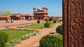 Fatehpur Sikri World Heritage Site. Panoramic view of Fatehpur Sikri with Diwan-i-Khas, or Hall of Private Audience, in the distance Royalty Free Stock Photo