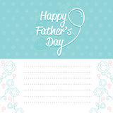 Father's Day Card With Outline Flower Pattern. Family Parent Card Celebrations Offspring Love Relationship Royalty Free Stock Images
