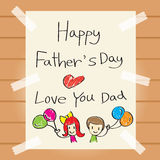 Father's Day Drawing Card. Family Parent Card Celebrations Offspring Love Relationship Royalty Free Stock Image