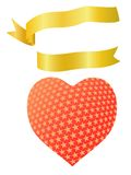 Heart shape with golden ribbon Stock Images