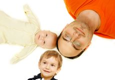 Father and 2 children Royalty Free Stock Photography