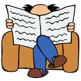 Father. Sitting in the arm-chair and reading newspaper Royalty Free Stock Photo