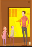 Father Abusing Children Composition. Adults abuse children indoor composition with flat characters of teenager siblings having quarrel with their father vector Stock Images