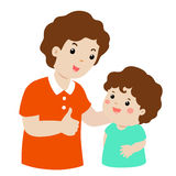 Father admire son character cartoon  Royalty Free Stock Image