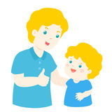 Father admire son character cartoon  Stock Image