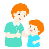 Father admire son character cartoon  Royalty Free Stock Photography