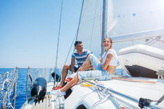 Father with adorable daughter resting on yacht Royalty Free Stock Photography
