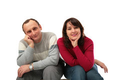 Father with adult daughter looks stock photo