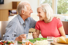 Father and adult daughter sharing meal Royalty Free Stock Image