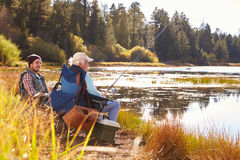 Father and adult son fishing lakeside, Big Bear, California Royalty Free Stock Images