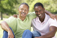 Father With Adult Son In Park. Smiling Royalty Free Stock Image