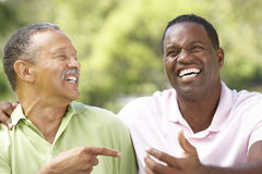 Father With Adult Son In Park. Laughing At Joke Stock Image
