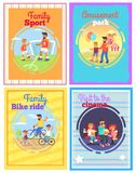 Father with Amusing with Kids Set of Four Cards. Father amusing with children in park, watching film in cinema, riding bikes or doing sport outside vector poster Stock Images