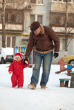 Father And Baby Walk Stock Photography