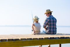 Father And Daughter Fishing Stock Photo