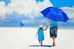 Free Father And Daughter Walking At Beach Stock Image - 24410511