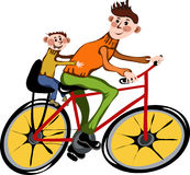 Father And His Son Walking By Bicycle Stock Photography