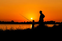 Free Father And Son Fishing In The River Royalty Free Stock Photo - 67449375