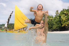 Father And Son In Water Stock Photography