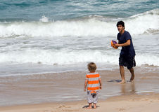 Free Father And Son On Beach Stock Image - 4847241