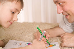 Father And Son Paint Stock Photography