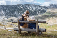 Free Father And Son Travel Together In Autumn Mountains Durmitor, Mon Royalty Free Stock Images - 81678829