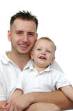 Father And Son Wearing White Royalty Free Stock Images