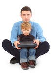 Father And Son With Laptop Stock Photos